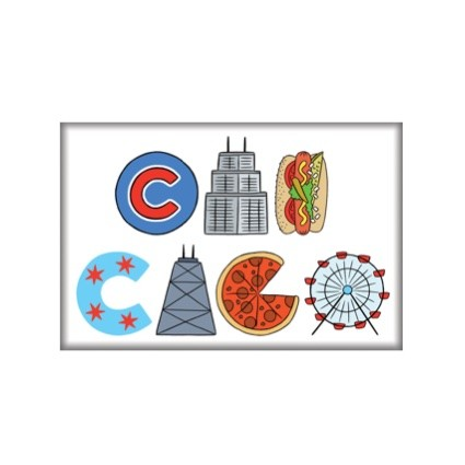 Magnet - Chicago Icons Lettering