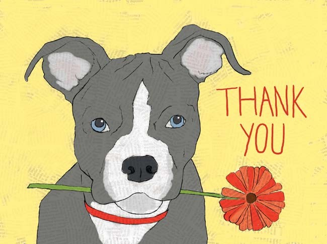 Dog with Flower Thank You