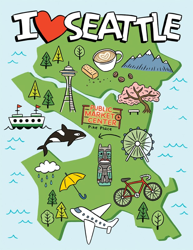 The Found I Heart Seattle Map