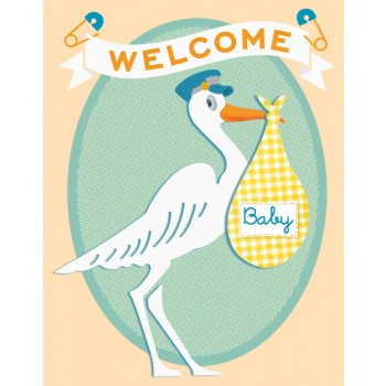 Vintage Stork-Welcome Baby