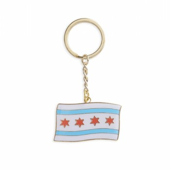 Keychain - Chicago Flag