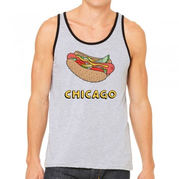 Hotdog on Grey Tank Top
