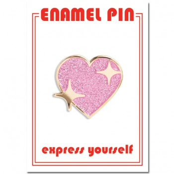 Pin - Glitter Heart with Stars