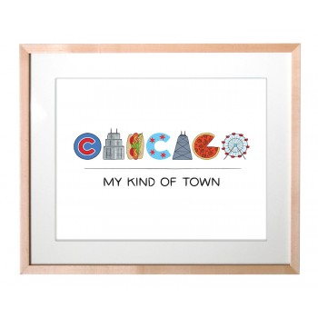 Art Print - Chicago Icons Lettering