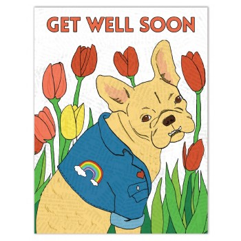 Get Well Dog with Tulips