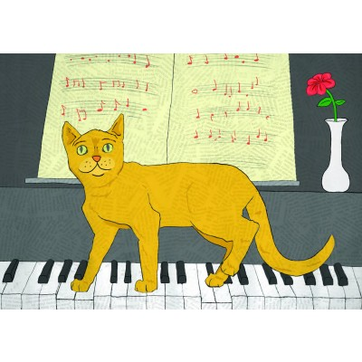 Tabby on Piano