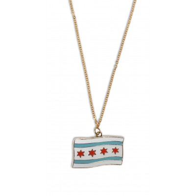 Necklace Chicago Flag